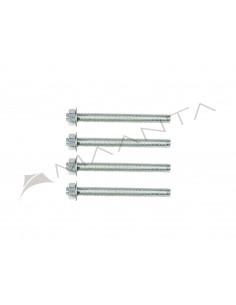 Sada 4 závitových tyčí z pozinkované oceli M12 o délce 13 cm
