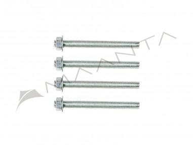 Sada 4 závitových tyčí z pozinkované oceli M10 o délce 12 cm